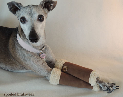 Micro,Shearling,Leg,Warmers,for,Dogs,dog legwarmers, spoiled bratzwear, uggs, cast cover for dogs, casteez