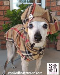 Brrrrrrberry London Plaid Vest and Tam Hat for Dogs-custom made - product images 1 of 4