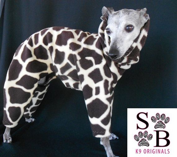 Wild Giraffe Warm Fleece Italian Greyhound Romper-custom made - product image