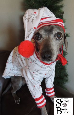 Christmas,FLANNELS,Nightshirt,and,Cap,for,Dogs-2,prints,nerdy rudy flannel, italian greyhound clothes, christmas dog clothes