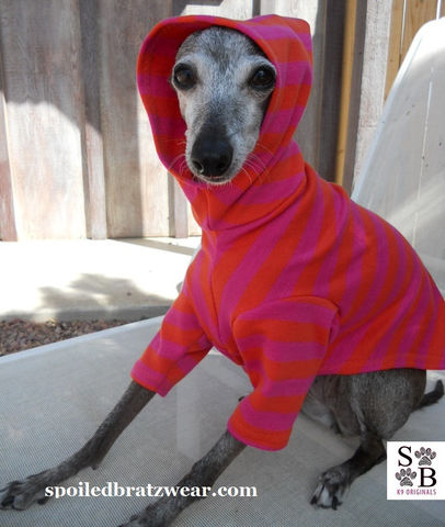 Striped,Italian,Greyhound,Cotton,Hoodie,mango/sunset,Clothing,cotton,jersey,tshirt,stripes,trendy,chinese_crested,italian_greyhound,dachshund,spoiledbratzwear,designer,sun_protection,sun_suit,michael miller interlock cotton