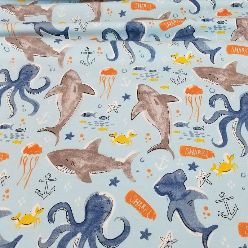 Sharks and Friends European Cotton French Terry - product images  of