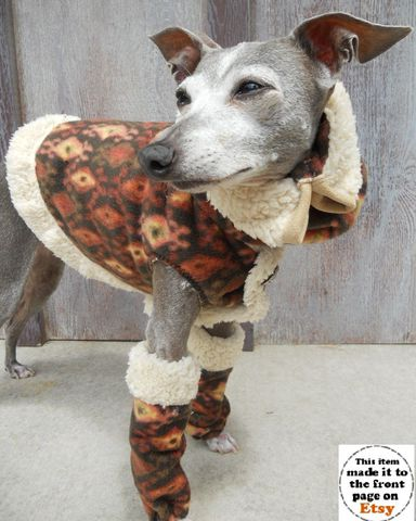 As,seen,on,HGTV,Shearling,and,Fleece,Warm,Dog,Vest,,Snood,Leg,Warmers, Dog coat, italian greyhound clothing,warm_dog_vest,legwarmers_for_dog,dog_snood,shearling_dog_coat,designer,italian_greyhound,dachshund,aztec_print,chocolate,spoiled_bratzwear,hgtv,faux shearling,anti pill fleece,italian button,velcro