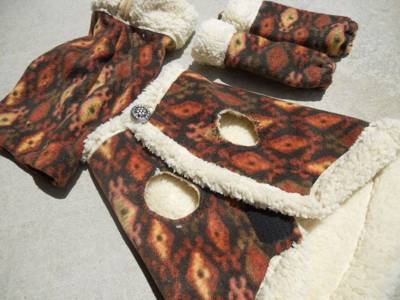 As seen on HGTV Shearling and Fleece Warm Dog Vest, Snood and Leg Warmers - product image