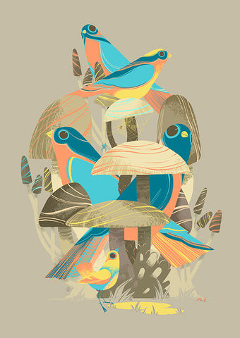Bird,Rooms,Giclée Print, Art Print,  Guy Mckinley Print, Birds, Colour, Botanicals, Leaves, Flora, Fauna, Poster, guy mckinley, guymckinley, mckinley
