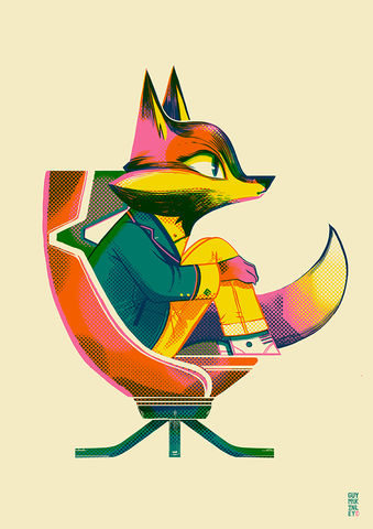 Stately,Fox,risograph, limited edition, print, art print, fox, 60's, vintage chairs, mid century,