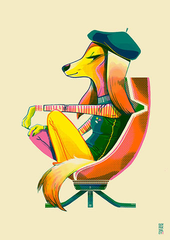 The,August,Hound,risograph, limited edition, print, art print, hound, 60's, vintage chairs, mid century, guymckinley