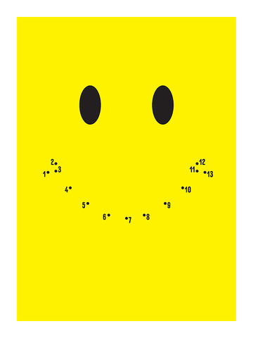 Dot-to-Dot,Smiley,Face,smiley face, smile, happy, lol, dot-to-dot, art, fun, family, diy, yellow, design, print, gift art, frame, home,