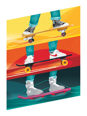 'What's,That,Thing,He's,On?',back to the future, bttf, art, print, illustration, skateboard, skate, sneakers, converse, cons, marty mcfly, movies, films, film, 1980s, 80s, trilogy, time travel, nike, design, colour, overboard, 1955, 1985, 2015, hover board,