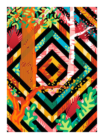 Trees,Art,Print,trees, forest, wood, art, print, nature, paradise, homewares, lifestyle, colourful, bold, graphic