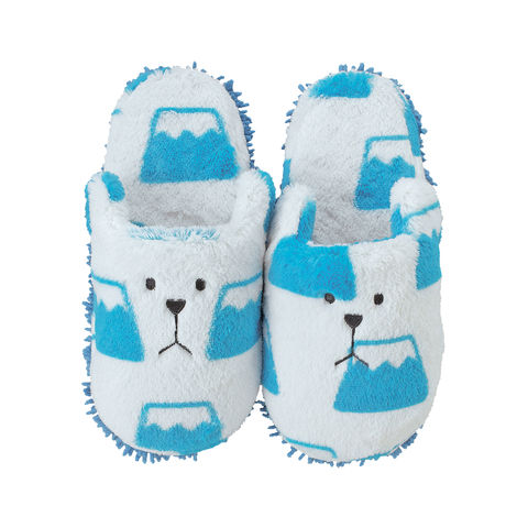 Japan,Sloth,Mop,Slippers,(Kids),adult, mop slippers,blue, white, mount fuji, sloth, bear print, pattern, plush, soft, slipper, cute, kawaii