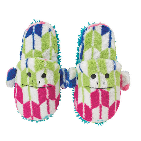Japan,Loris,Mop,Slippers,(Kids),adult, mop slippers, multicolour, yabane, loris, monkey, print, pattern, plush, soft, slipper, cute, kawaii