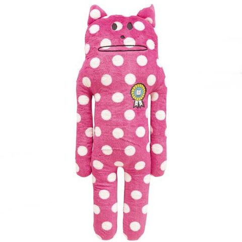 Gohobi,Korat,Hug,Cushion,L,gohobi, spots, white, cat, korat, love, cute, fun, japanese, accent, holiday, vacation, craftholic, craft, plush, soft toy, plain, soft, polyester, kids, children, pink, mum, girl, bright, fuschia, neon, polka dot, print