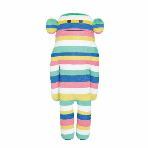 Initial,multi,border,Loris,Large,Craftholic, craftholicuk, hug cushions, cuddle cushions, hug pillows, soft toys, plush toy, kids toy, loris, monkey, multi coloured, stripes, Japan, Kawaii, Japanese