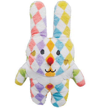 Pierrot,Rab,Hug,Cushion,(Medium),soft toy, pierrot, rabbit, bunny, rab, clown, circus, japanese, kawaii, cute, plush, toy, soft, huggable, pillow, pastel, home decor, fun, adorable, harlequin, print, checks