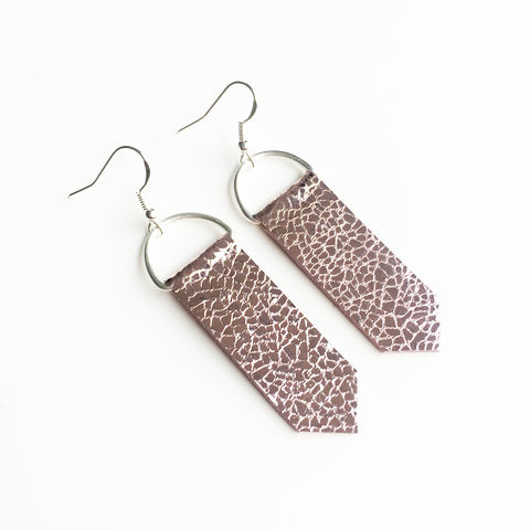 Mirror,Arrow,Earrings,Pink,Silver Leather, Silver Jewellery, Leather Earrings, Earrings, Drop Earrings, Gold Plated, Sterling Silver, pink Earrings, Foiled Leather, Metallic Leather, Handmade Earrings, Metallic, Metallic Jewellery