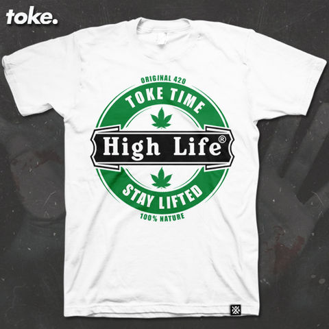 Toke,-,HIGH,LIFE,tee,on,Gildan,Rinspun,100%,soft,cotton.