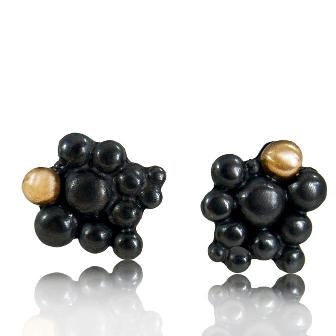 Black and 14k Gold Molecular Earrings - product images  of
