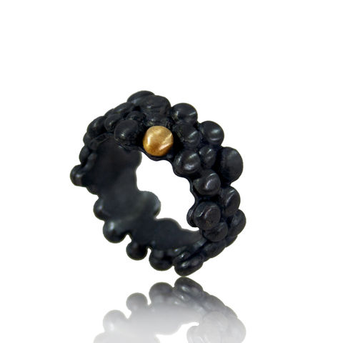 Black,and,14k,Gold,Molecular,Ring,gold, 14k,ring, artisan, ring, jewellery, handmade, molecules, unique