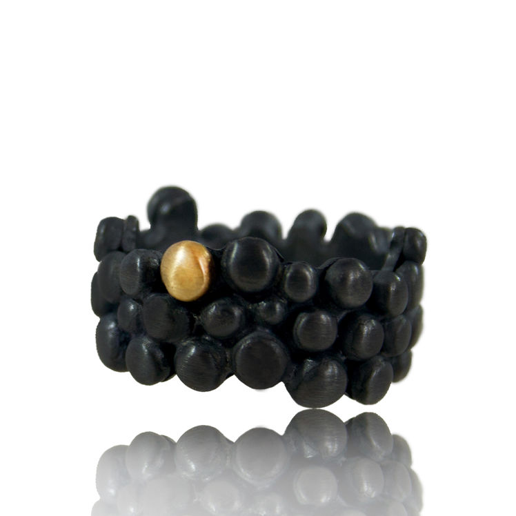 Black and 14k Gold Molecular Ring - product images  of