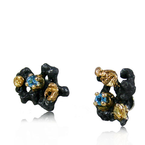 Scoria,Earrings,rock earrings, gold earrings, gemstone, emerald earrings, silver earrings, oxidated earrings