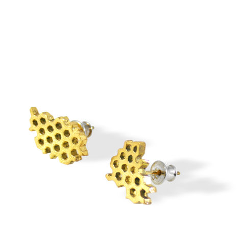 Honeycomb,Earrings,Gold,honeycomb earrings, silver earrings, sterling silver, gold plated, modern earrings, contemporary earrings, artistic earrings, nature earrings
