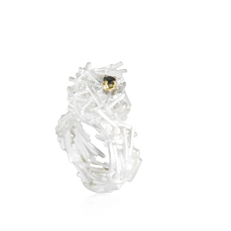 White Nest Ring with Black Diamond & 14k Gold Setting - product images  of