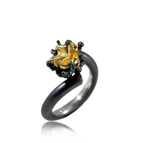 Naphtha,Ring,Black,&,Gold,naphta , ring, silver, volcano, black, gold