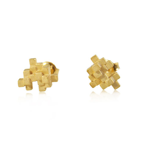 Tetris,Earrings,Gold,tetris earring, tetris, game earring, game, puzzle earring, puzzle