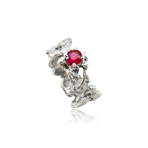 Out,of,the,Sea,Ring,with,Ruby,sea sand searing ring white silver handmadering  , out of the sea , ocean, natural, organic, structure, texture , unique , oneof
