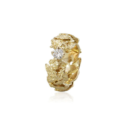 Flower,leaf,14k,gold,ring,with,0,25,ct,white,diamond,rock ring, white gold , gold, diamond, engagement ring