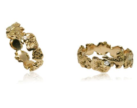 Out,of,the,Sea,14k,gold,wedding,rings,with,diamonds, 18k, brilliant, diamond, ring, artisan, jewellery, handmade