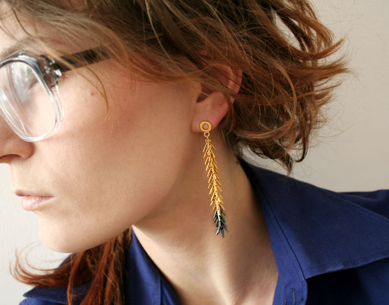 Tickle II Long Earrings Black / Gold - product images  of