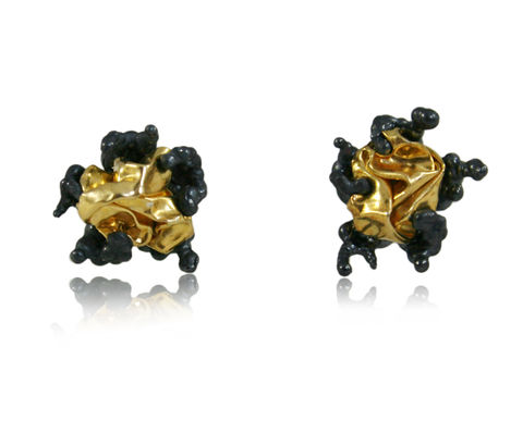 Naphta,Earrings,Black,&,Gold,stud earrings, silver earrings, black earrings, naphta earrings, gold earrings