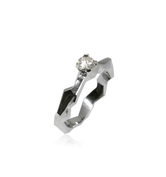 Geometry ring in 14k White Gold and 0,25ct diamond - product images  of