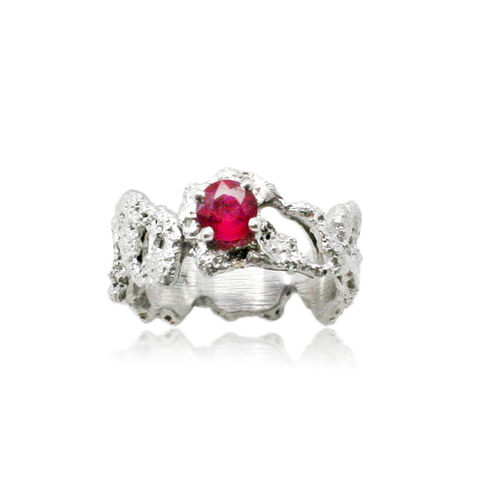 Out,of,the,Sea,Ring,in,14k,white,gold,with,0,25ct,Ruby,sea sand searing ring white silver handmadering  , out of the sea , ocean, natural, organic, structure, texture , unique , oneof
