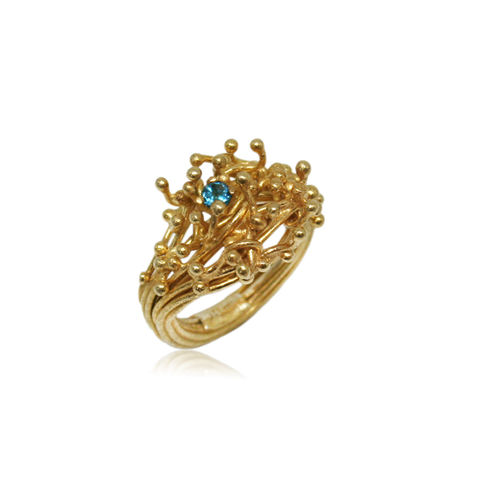 Kulfik,Ring,Gold,With,Blue,Topaz,kulfik, gold ring, plant ring, flower ring