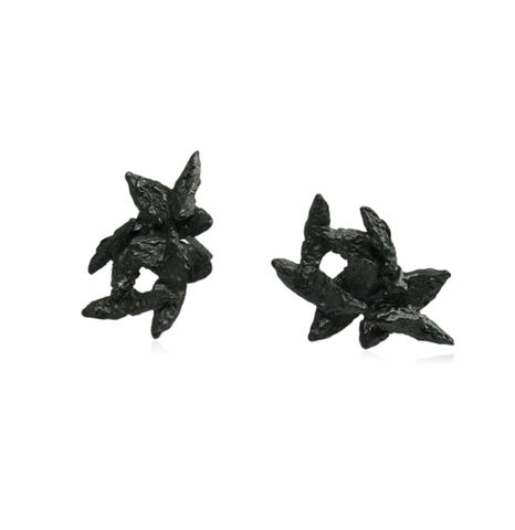 Flake,Earrings,Black,f;ale earrings, petals earrings