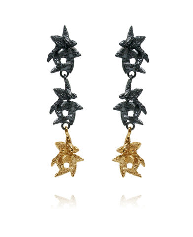 Flake,Long,Earrings,Black/,Gold,f;ale earrings, petals earrings