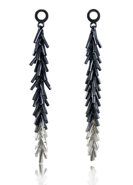 Tickle II Long Earrings Black / Silver - product images  of