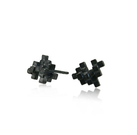 Tetris,Earrings,Black,tetris earring, tetris, game earring, game, puzzle earring, puzzle