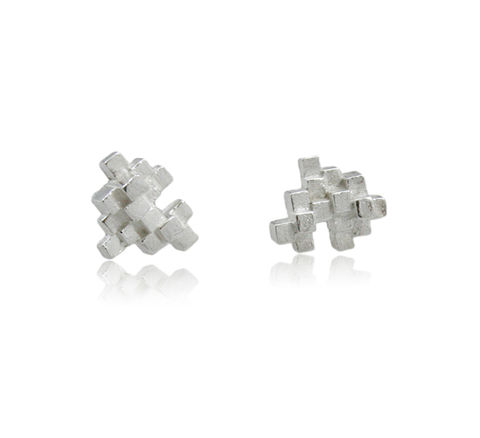 Tetris,Earrings,Silver,tetris earring, tetris, game earring, game, puzzle earring, puzzle