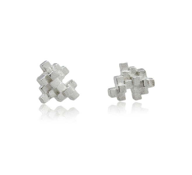 Tetris Earrings Silver - product images  of