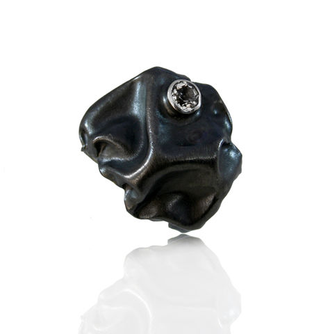 Gniot,Ring,Black,(different,stones,to,choose),ring, hand made,gem stones,  gold plated, fine silver, sterling silver, artistic, big ring, fashion, glamour, organic ring, textile ring
