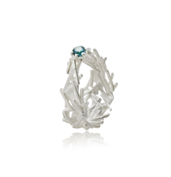Nest Oval Ring silver with Topaz - product images  of