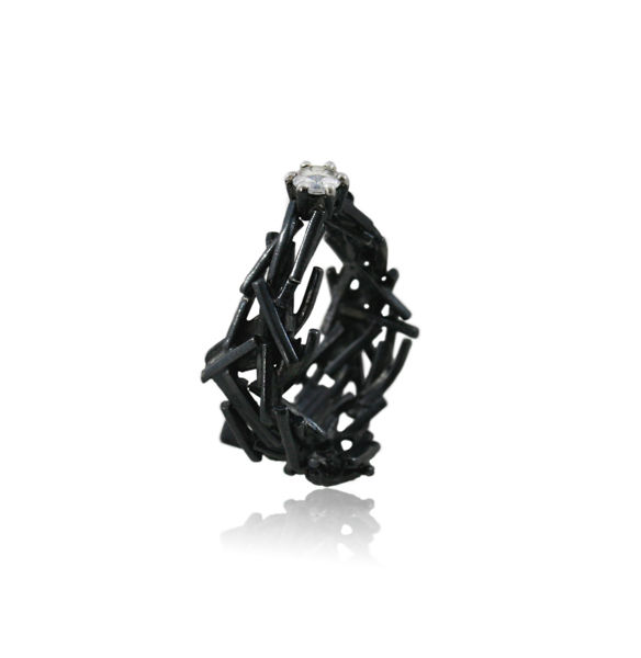 Nest Oval Ring Black with Topaz - product images  of