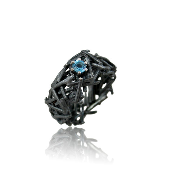 Nest Ring Black with Topaz - product images  of