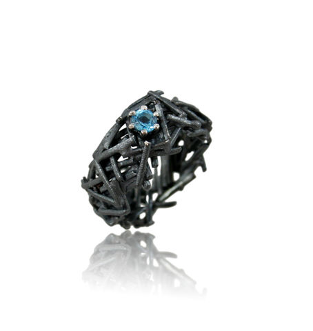 Nest,Ring,Black,with,Topaz,nest ring, organic ring, silver ring, unique ring, gold ring, special ring, wedding band