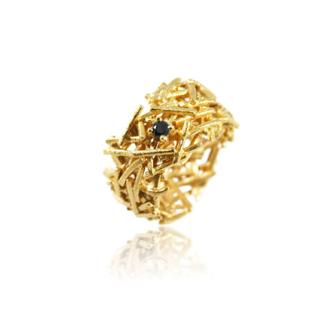 Nest,Ring,Gold,with,Black,Diamond,nest ring, organic ring, silver ring, unique ring, gold ring, special ring, wedding band