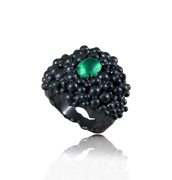 Big Molecular Ring with Emerald - product images  of
